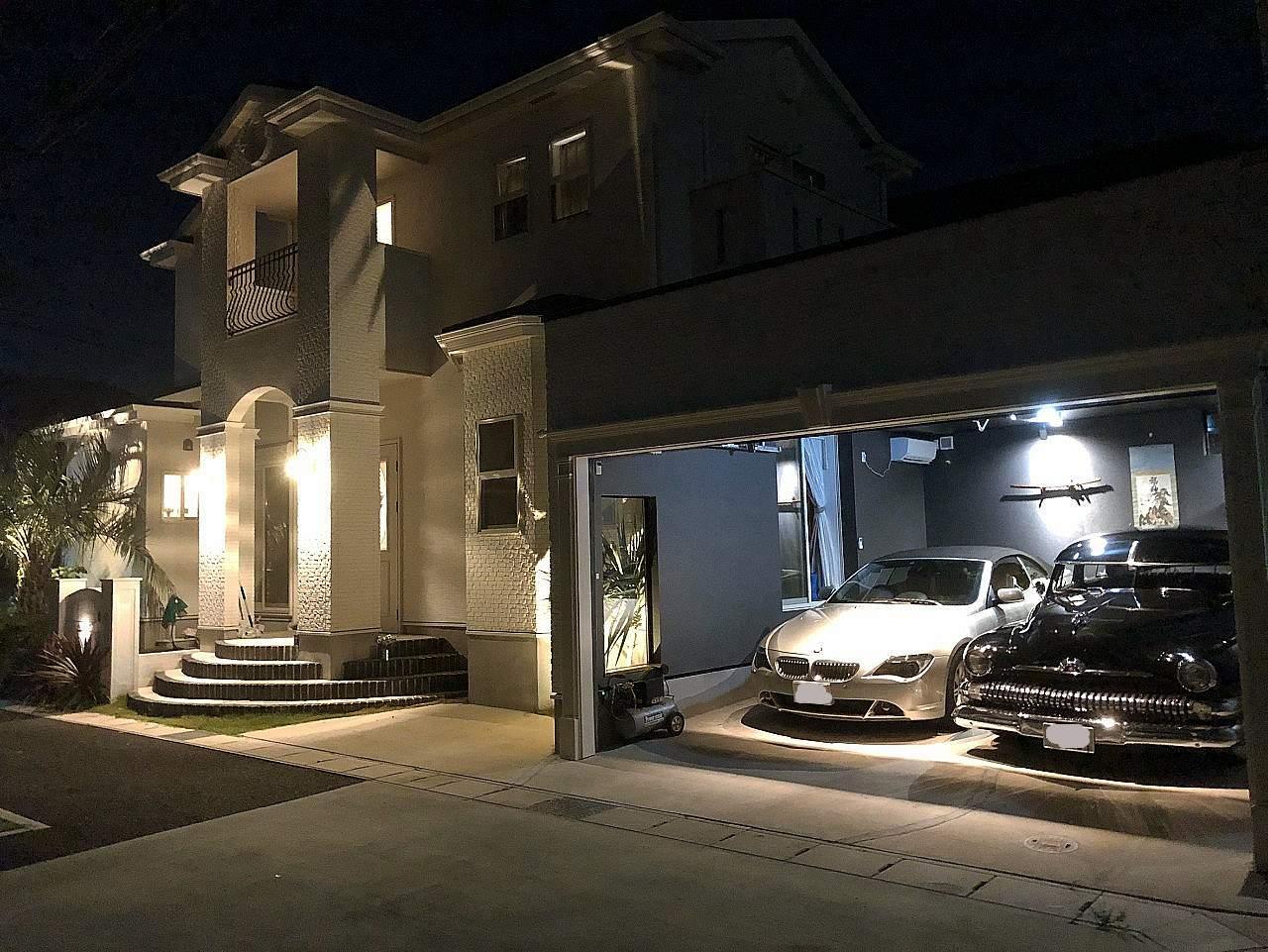 一宮市ガレージの夜景画像