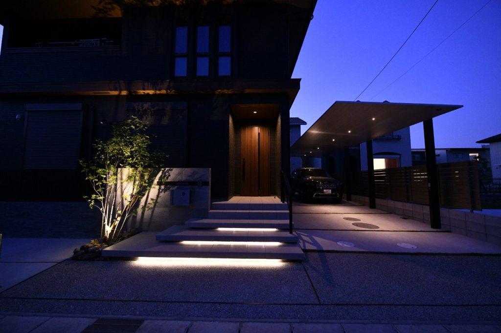 一宮市外構の美しい夜景外構 (4)